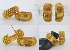 Asian-Indian-Jewelry-Polki-Ethnic-Cuff-Bracelet-Gold-Plated-Bangles-Set-Openable