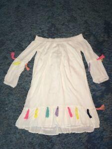 Chelsea-amp-Theodore-Dresses-Women-039-s-Boho-Off-Shoulder-White-Retro-Dress-XS-NWT