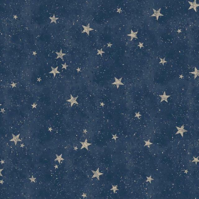 Crown M1490 Starlight Stars Navy Blue Gold Metallic Feature Wallpaper