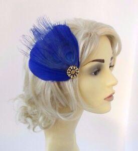 7f050b805b Royal Blue Gold Feather Fascinator Hair Clip Races Wedding 1920s ...