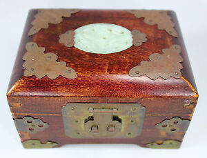 Vintage Shanghai China Jewelry Box in Rosewood w Brass Jade