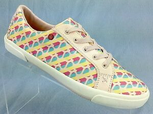 7cbc08be393 Details about SAMPLE I Heart UGG Lace up Pink Rainbow Hearts Canvas  Sneakers Womens Shoes 7