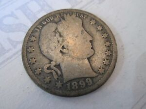 1899-BARBER-QUARTER-Vintage-UNITED-STATES-silver-coin-reeded-edge-LOVELY-IS76