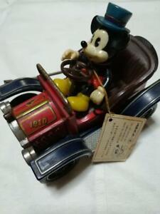 Masudaya-Antique-Mickey-Mouse-toy-tin-Retro-Vintage-Car-Limited-Rare-Disney