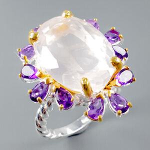 Vintage21ct-Natural-Rose-Quartz-925-Sterling-Silver-Ring-Size-9-R114510