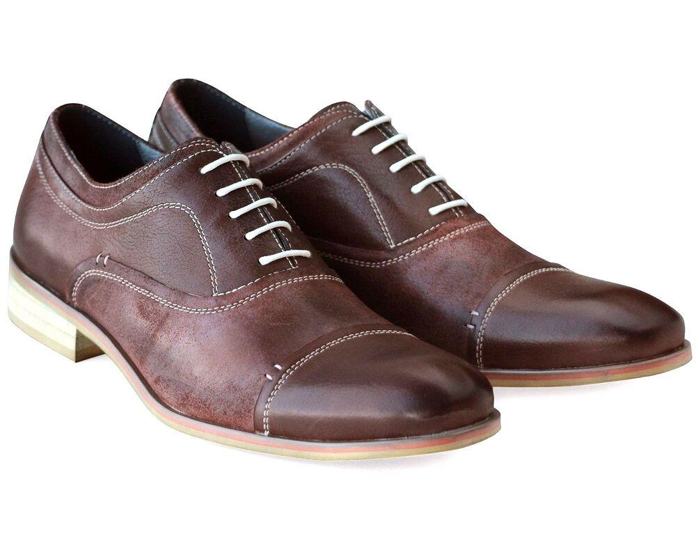 * 537 Uk 6 Homme Neuf Marron En Cuir Véritable Chaussures De Loisirs Confort à Lacets Travail Ue 40