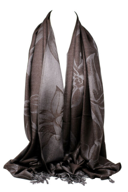 Reversible Two Sided Pashmina Feel Intricate Floral Swirls Design Scarf Shawl