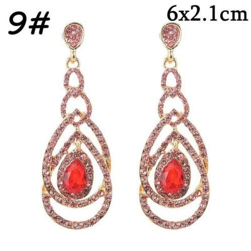 Fashion Crystal /& Metal Long Dangle Stud Dangle Drop Earrings Women Jewelry