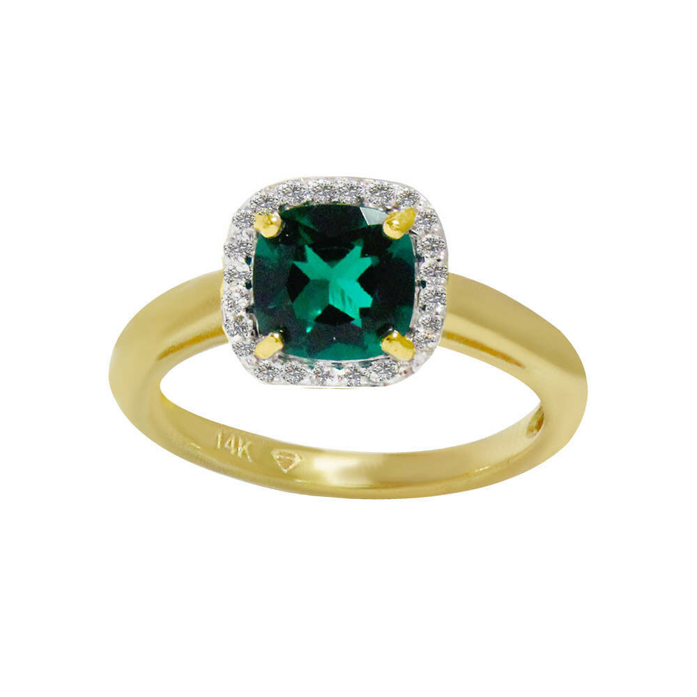 Natural Fine Zambian Emerald & Diamond Cushion cut Halo 14k Yellow gold Ring