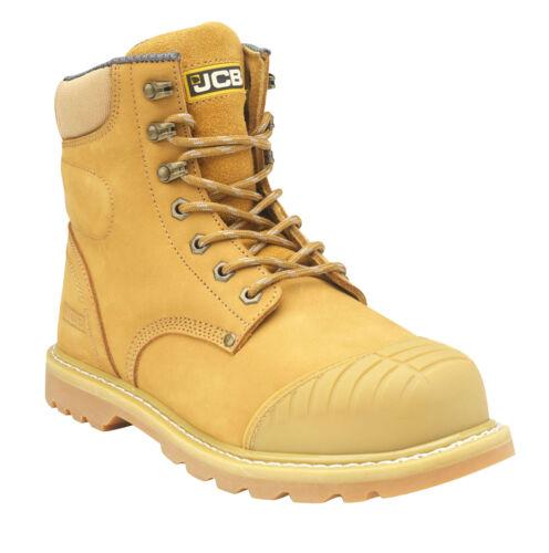 Mens JCB 5CX Honey Leather YKK Side Zip Steel Toe Scuff Cap Safety Work Boots S1