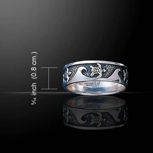 Turtle Surf Waves .925 Sterling Silver Ring by Peter Stone Jewelry