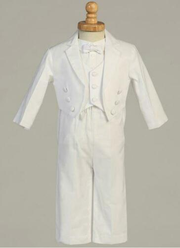 Baby Boy White Suit//Tuxedo TAIL Party//Baptism//Wedding 5 pieces Outfit//Sizes 4-20