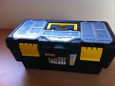 "Plastic Lockable Tool Box Case Tray Compartments DIY Storage 16"" Great Value"