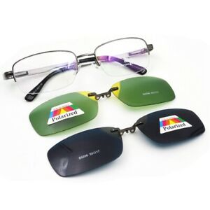 Magnetic-Polarized-Clip-on-Sunglasses-Fashion-Rectangular-Eyeglass-Frames-Rx-UV