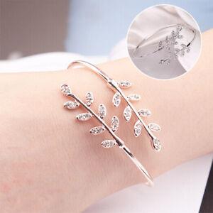 Femme-Argent-Feuille-Bracelets-reglable-Bijoux-amoureux-mariage-manchette-cadeau