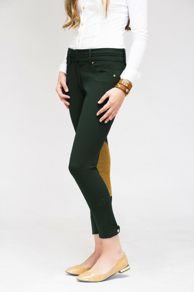 NWT Le Fash Knee Patch Breeches 30R- Central Park Green Fashion Riding Pants