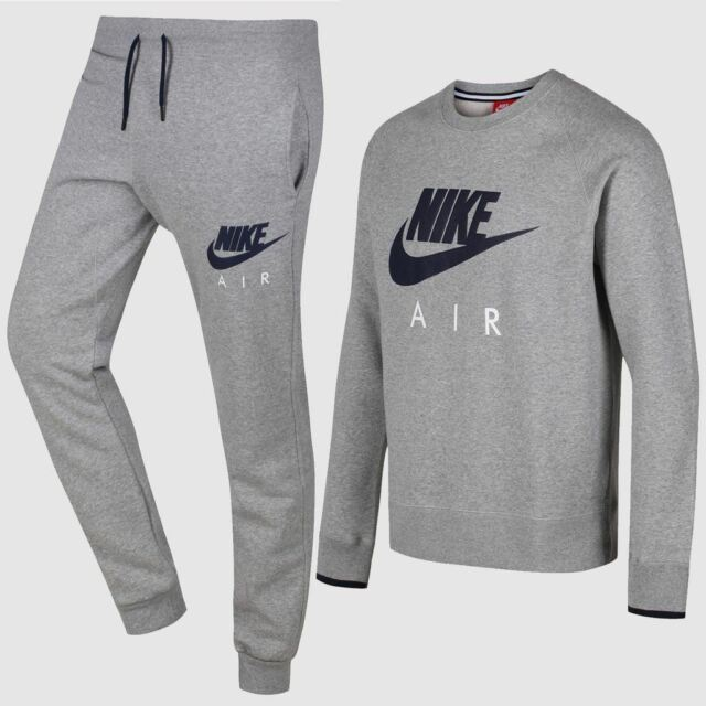6e192312f Nike Air Crew Mens Fleece Sweatshirt Sports Track Top Heather Grey ...
