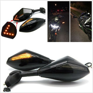 Motorcycle Rearview Side Mirrors LED Turn Signals Indicator for Honda Kawasaki