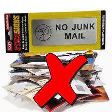 NO JUNK MAIL SIGN POST LETTER BOX LETTERBOX LEAFLETS MENUS FLYERS SALESPEOPLE