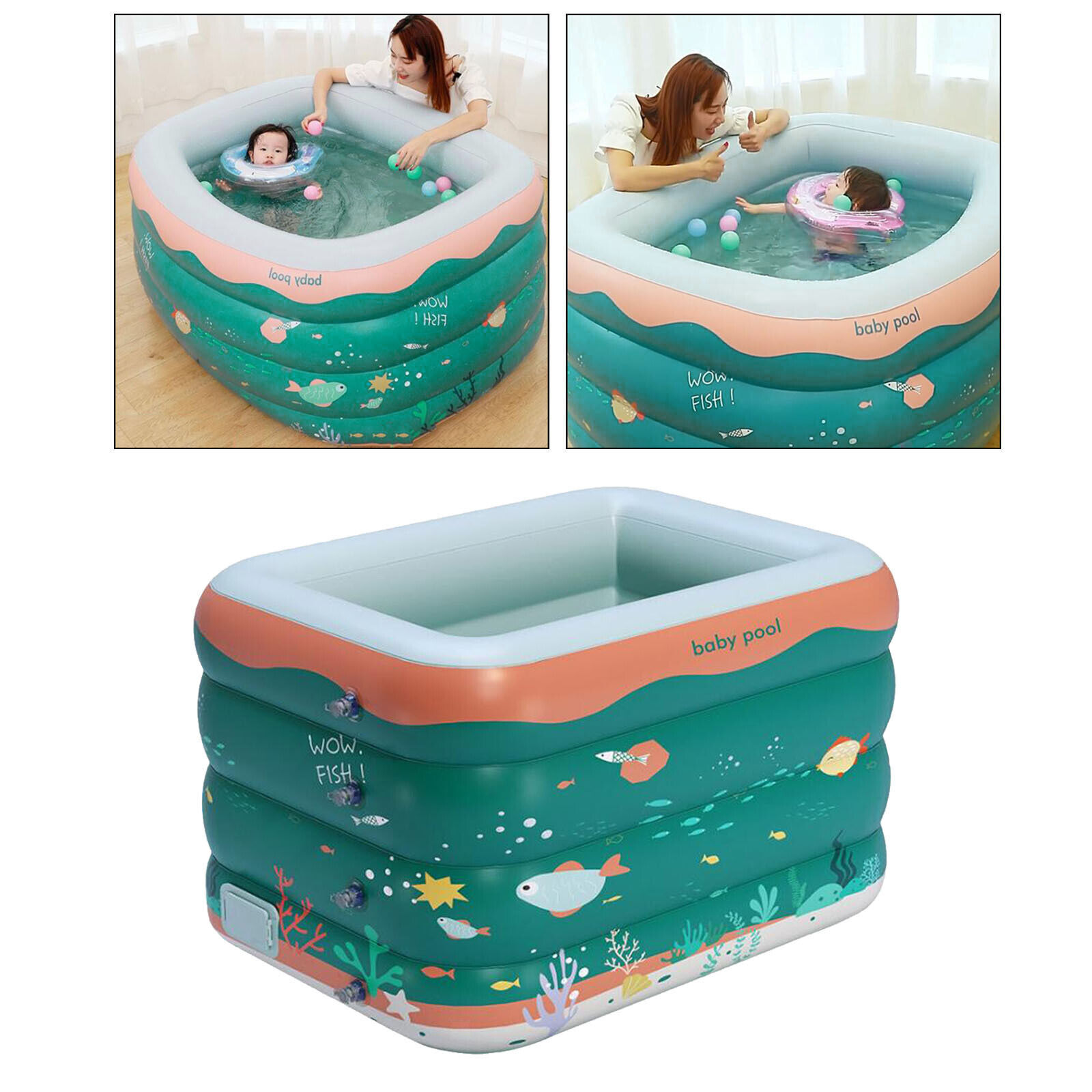 Inflatable Swimming Pool Summer Lounge Kids Water Play Yard Padding Blow Up