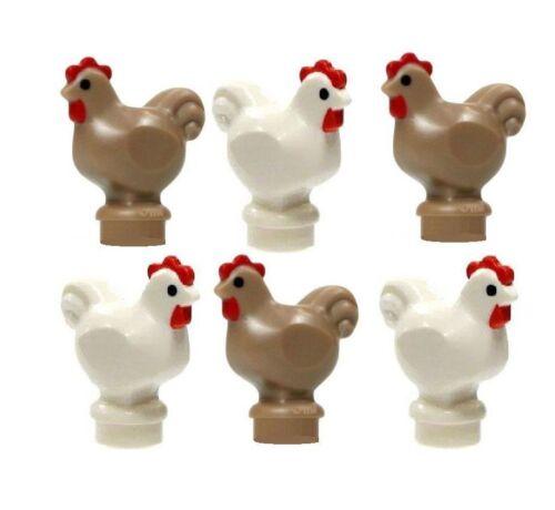 6 lego white /& tan CHICKEN Castle Farm Chick Hen Rooster Bird Animal new lot
