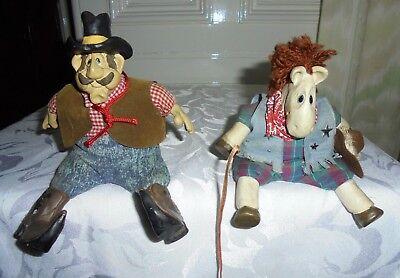 Di Carattere Dolce 2 Vintage Russ Statuette Cowboy E Cavallo Corpi Imbottiti, Beanie Babies-mostra Il Titolo Originale