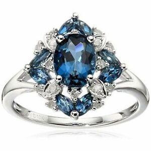 Echt-925-Silber-Ring-Rubin-Edelstein-Damen-Blumen-Ring-Romantische-Geschenk-Neu