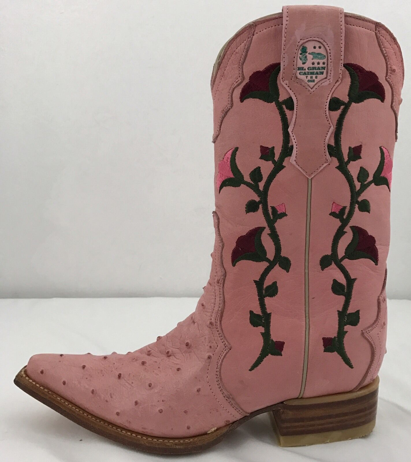 El Gran Caiman Pink Leather Embroidered Cowboy Boots & Belt Size 6