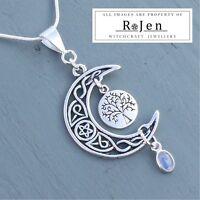 Celtic Knot Pentagram Moon, Tree Of Life & Rainbow Moonstone Pendant Wicca Pagan