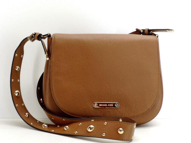 32ed5dfd3230 Michael Kors Hayes Studded Large Messenger Saddlebag Handbag  348 Brown  New! NWT