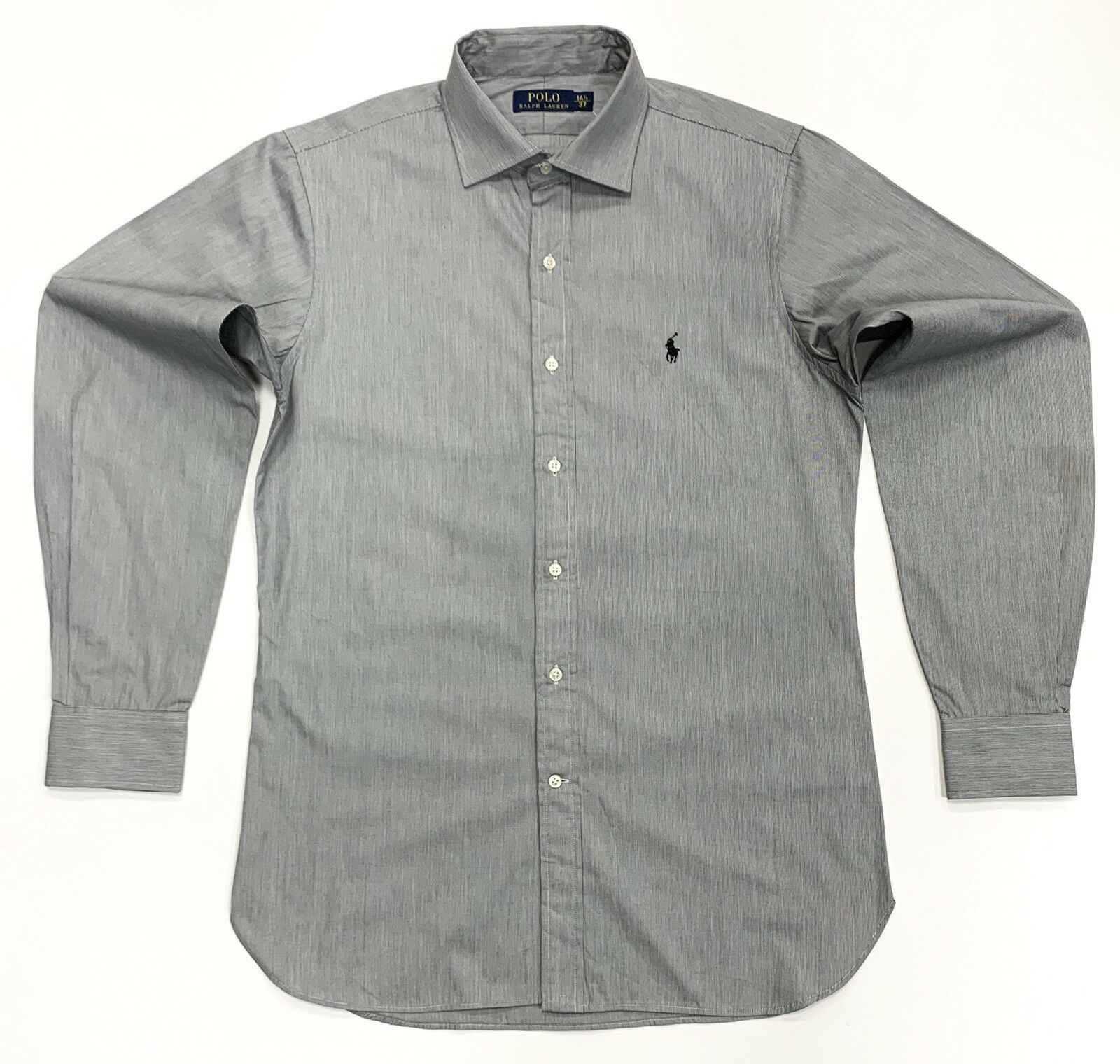 POLO RALPH LAUREN LAUREN LAUREN uomo cotton camicia a maniche lunghe in nero bianco Taglia 14.5 37 31ed95