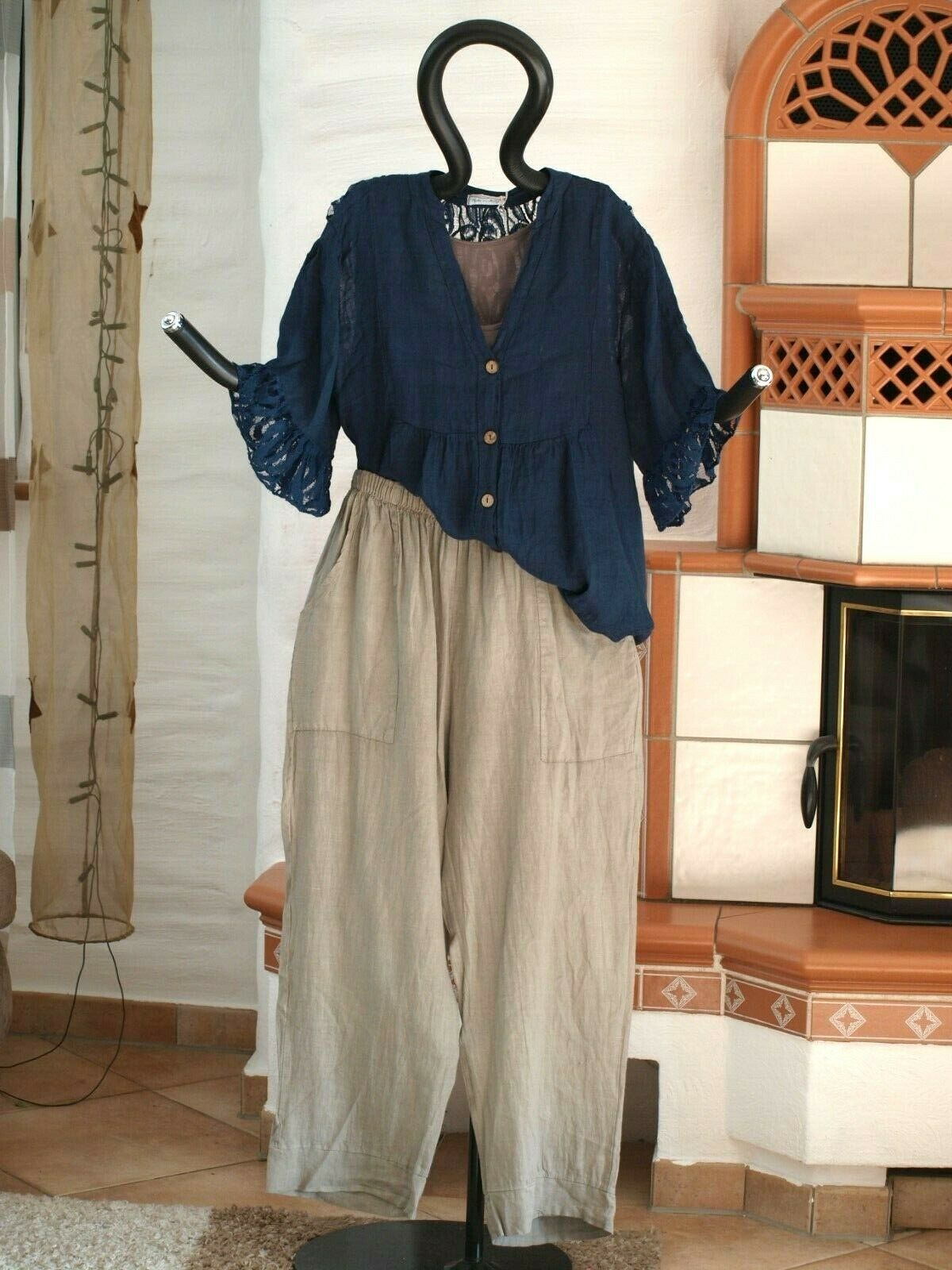 9513 LABASS Lagenlook TINA BASIC Leinen Hose gerade Taschen taupe XL 48 50