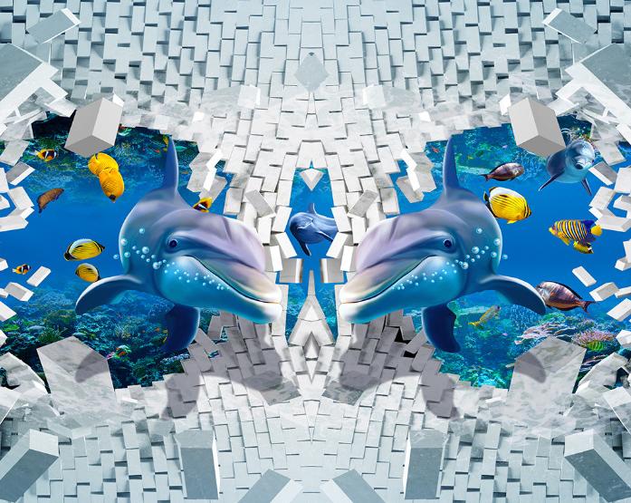 3D Dolphin square 890 Floor WallPaper Murals Wall Print Decal 5D AJ WALLPAPER