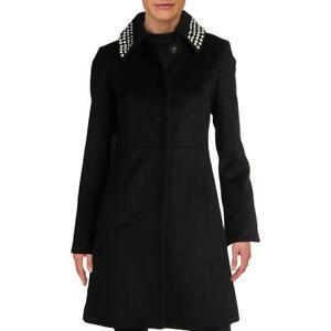 Karl-Lagerfeld-Paris-Womens-Black-Winter-Wool-Dress-Coat-Outerwear-S-BHFO-1904