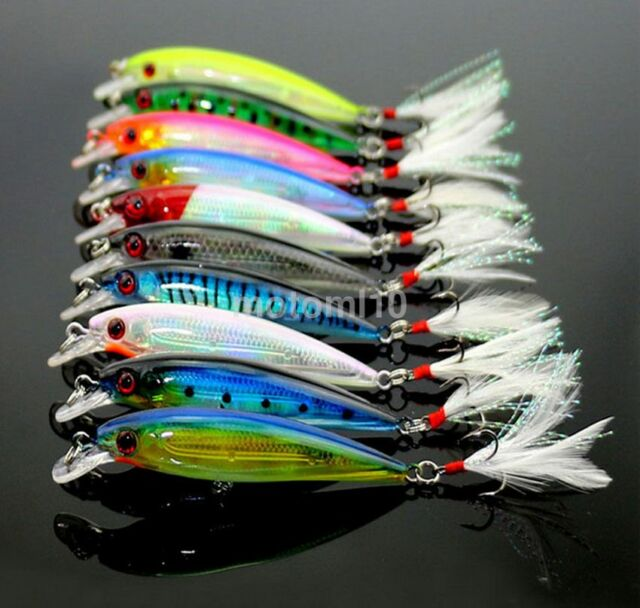 New 10pcs Kinds of Fishing Lures Crankbaits Hooks Minnow Baits Tackle Crank CR