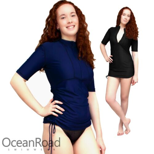 Ladies Rash Guard Chlorine Resistant size 10-28 Women Shirt Vest Rashie Plus 14