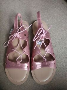 db24c23bacc Details about Next Ladies /Girls Pink Metallic Flat Lace Up Strappy  Gladiator Sandals Uk 6 NEW