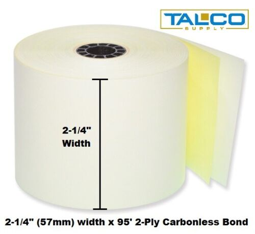 """6 ROLLS ~FREE SHIPPING~ 2-1//4/"""" x 95/' 2-PLY CARBONLESS POS RECEIPT PAPER"""