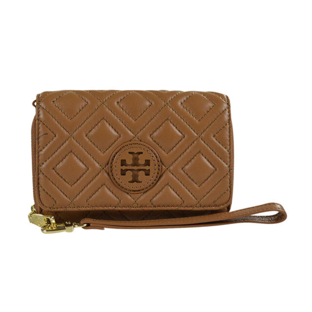 Tory Burch Marion Quilted Smartphone Wristlet Wallet Tigers Eye Ebay