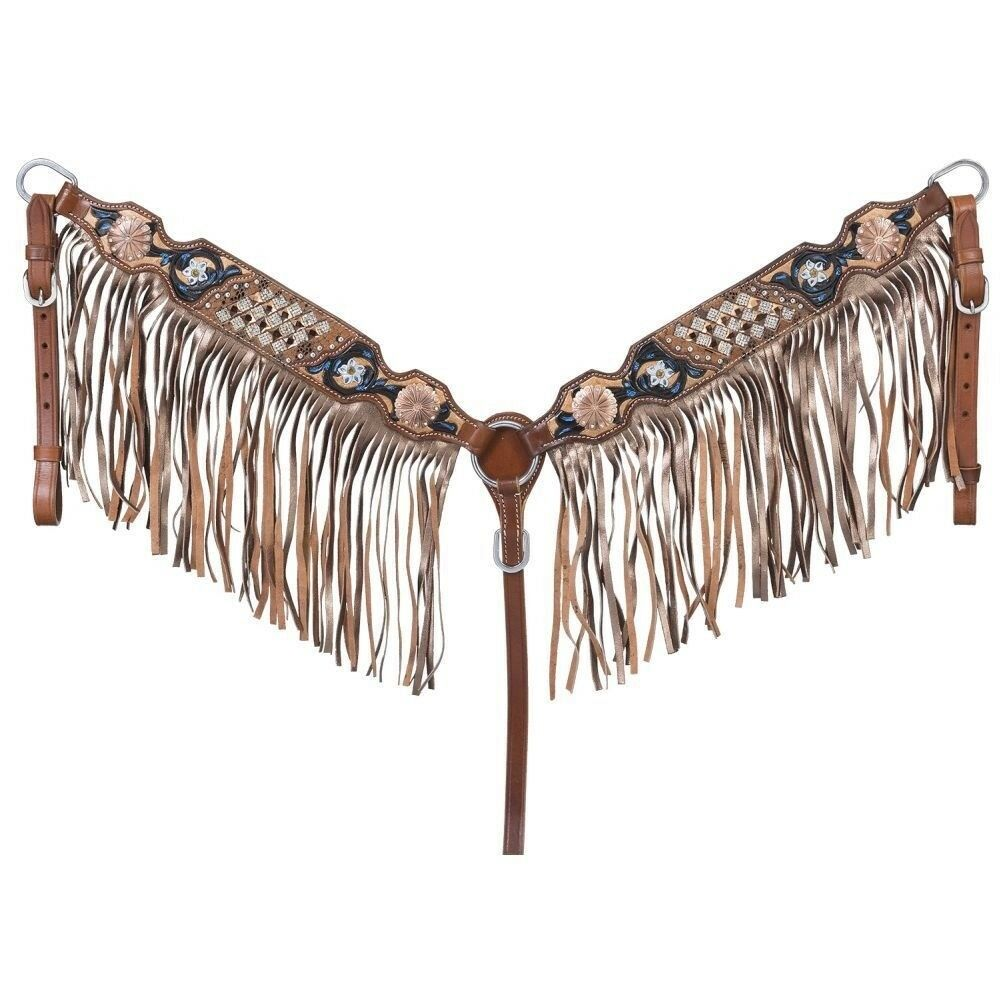 Tough-1 Savannah Collection Breastcollar with Fringe Reptile Print Medium Oil