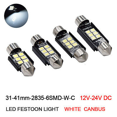 31/36/39/41mm Canbus 6SMD 2835 No Error C5W LED Bulbs Car License Plate Lights