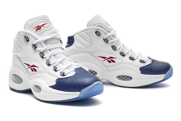 NEW size 14 Reebok Iverson Mid Question Answer Mid Retro J82534 White Blue Red