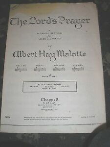 SHEET-MUSIC-THE-LORD-039-S-PRAYER-ALBERT-HAY-MALOTTE-VOICE-amp-PIANO-6-PAGES