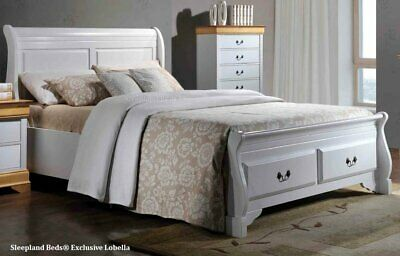 Kingsize White Wooden Sleigh Bed Frame With End Storage ...