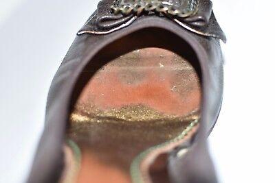 Vintage Marrón Cuero Tacón Teclas Slip On mediados Tribunal Pixie para mujeres zapatos talla 6/39