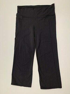 women's athleta medium cropped pants black athletic yoga