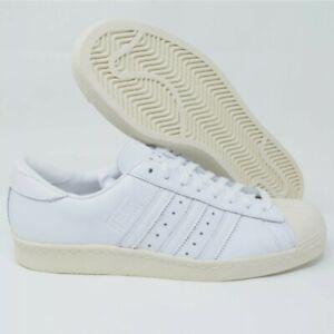 Adidas Originals Superstar 80 S Rétro Homme Chaussures en Cuir Blanc Taille 9.5 EE7392