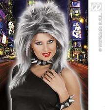 Grey Black Wig Messy Hair Style Puink Rocker Tina Turner Raver Fancy Dress
