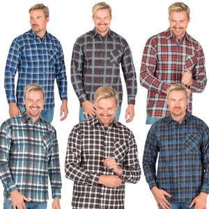 Mens Flannel Brushed Cotton Work Shirts Lumberjack Check Long Sleeve Shirt