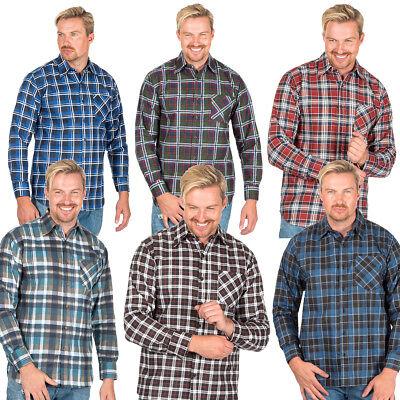 Mens Flannel Lumberjack Check Work Causal Shirt Brushed 100/% Cotton